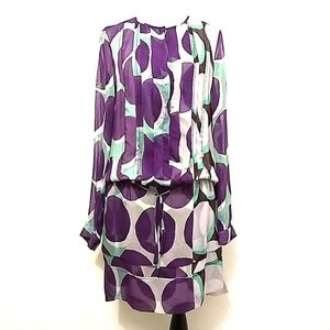 DVF Polka Dot Silk Dress Low Waist Layered Hem